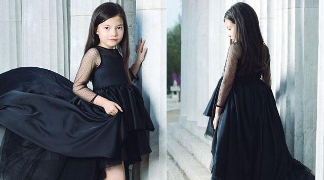 穿上OKSTAR欧卡星品牌童装2017秋季小黑裙 做气质女王