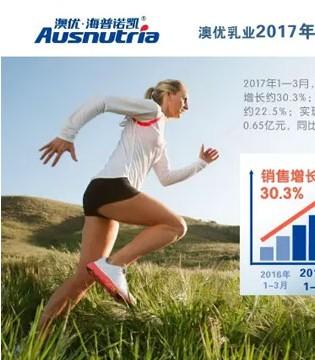 澳优乳业发布2017年第一季度财报:业绩及利润分别同比增长30.3%及22.5%