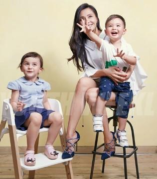 马雅舒携儿女爱登、米雅登杂志封面 亲子写真曝光啦