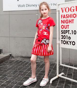 靓丽的一抹红 就是那穿上1001夜品牌童装美腻的她