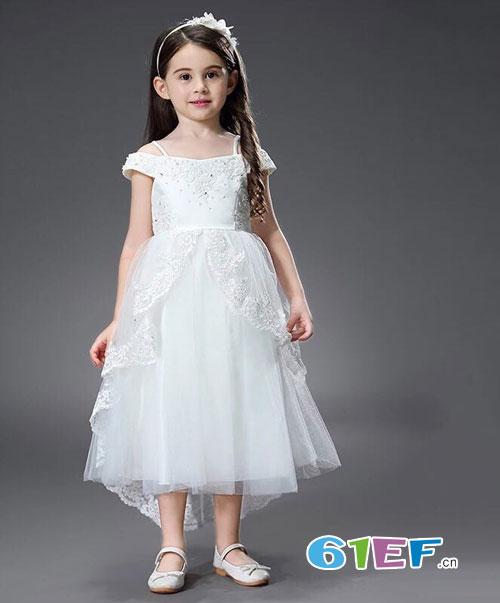 魔方童装品牌 2018夏季儿童纯白网纱连衣裙