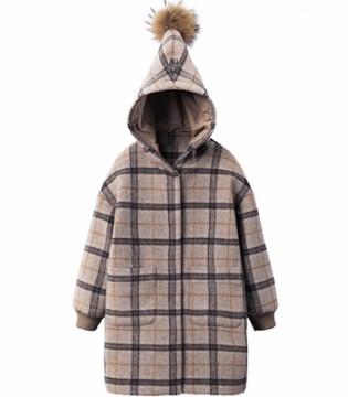 洋气潮童格纹呢子大衣 保暖时尚不臃肿