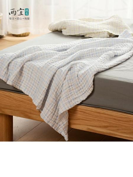 两宜 纯棉彩格六层褶皱纱布浴巾,盖毯