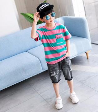 左西男童条纹短袖T恤 轻松打造夏日小潮童