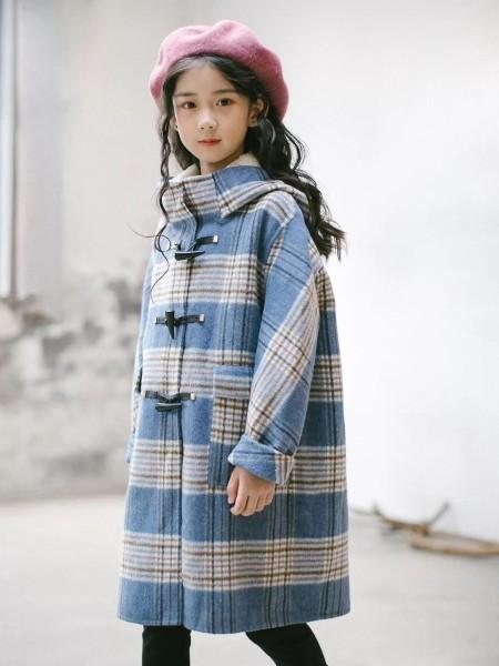 Outride越也  童装品牌2019秋冬新品简约格子毛呢大衣