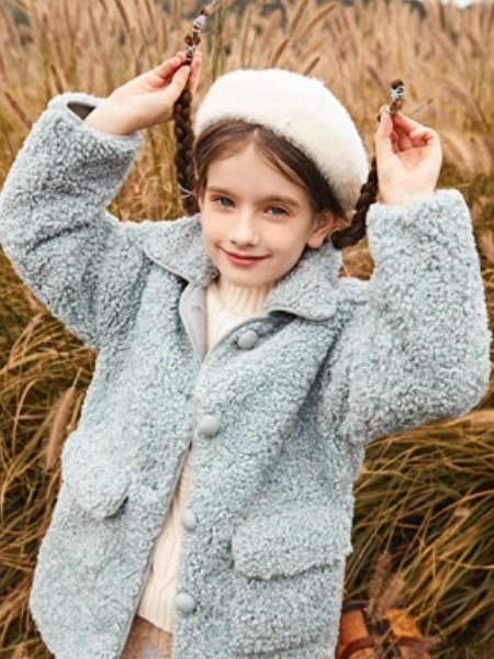 童装品牌2020冬季蓝色羊羔毛外套