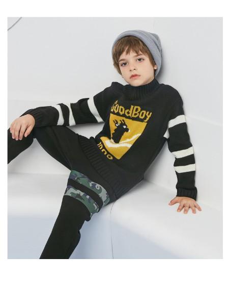 迪迪鹿男童毛衣2020秋冬新款男中大童洋气撞色套头毛衫儿童线衫潮