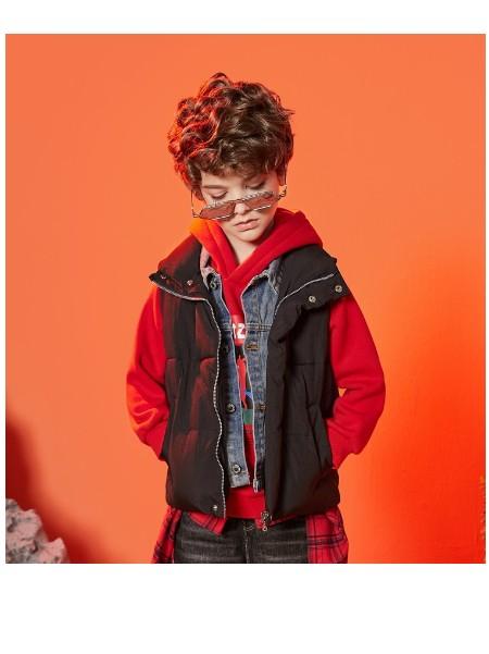 迪迪鹿男童冬季背心2020冬装新款男中大童假两件马甲儿童加厚背心