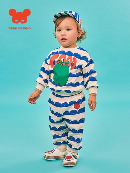 BEBEDEPINO春季新款儿童款条纹长T恤上衣休闲长裤子套装