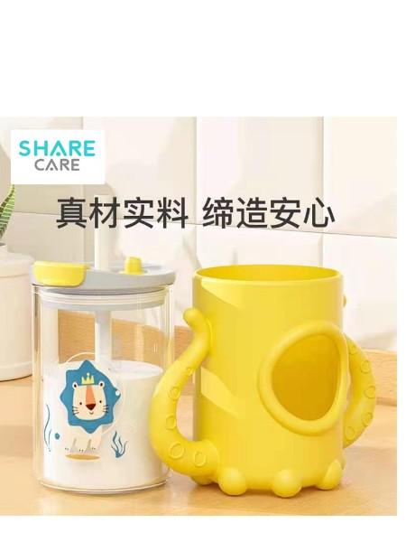 定制牛奶杯带刻度早餐喝奶杯微波炉可加热玻璃儿童冲泡奶粉吸管杯