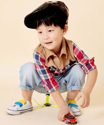 提莫可可2014秋款新品韩版童装衬衫撞色格子长袖童衬衫