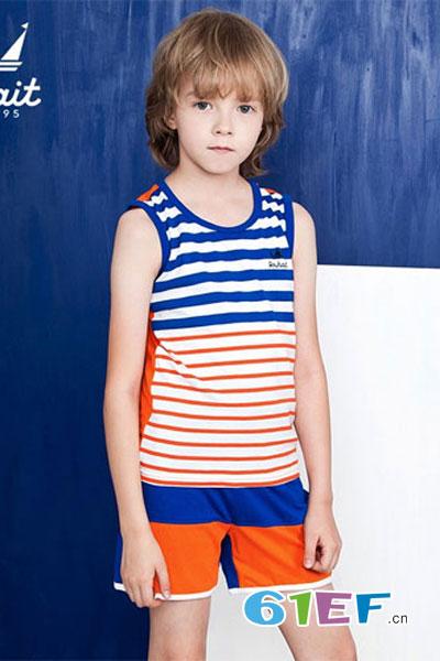 水孩儿souhait童装品牌2017年夏季绅士纯棉套装