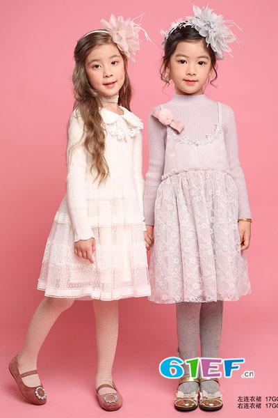 小象Q比童装品牌2017年秋季公主领蕾丝连衣裙