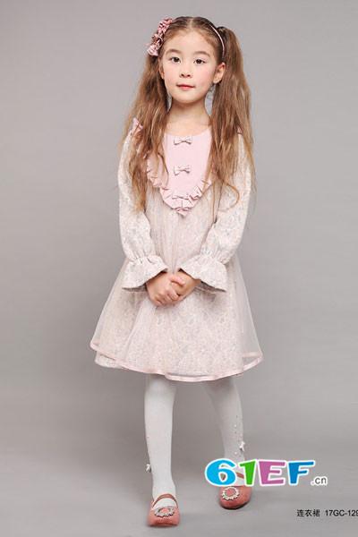 小象Q比童装品牌2017年秋季碎花蕾丝长袖连衣裙