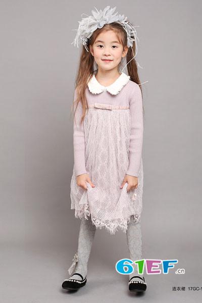 小象Q比童装品牌2017年秋季公主领蕾丝长袖连衣裙