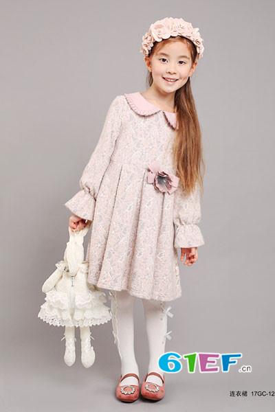 小象Q比童装品牌2017年秋季公主领碎花蕾丝长袖连衣裙
