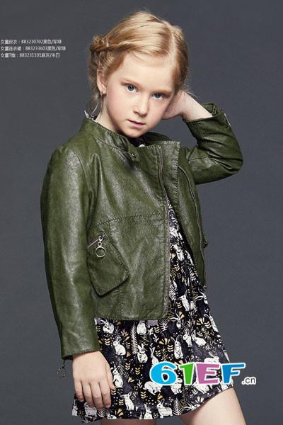 Yuki So童装品牌2017年秋季新品时尚军绿色夹克