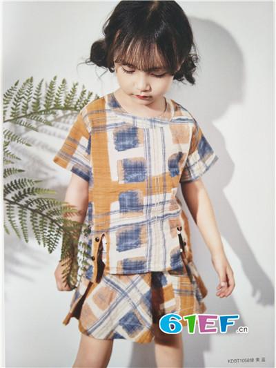 青稚童装品牌2017年春夏棉麻T恤套装
