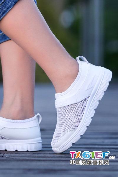 怕怕龙童鞋儿童镂空运动鞋2017夏季轻便透气网鞋男童鞋中小童休闲鞋大童网面鞋校园表演小白鞋