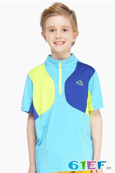 奥特山户外儿童速干t恤短袖衫男童女童夏季童装立领快干t恤短袖衫