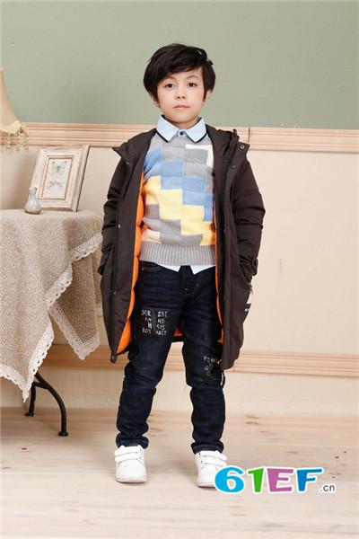韩版长款羽绒服 班吉鹿banjilu童装品牌2017年秋冬