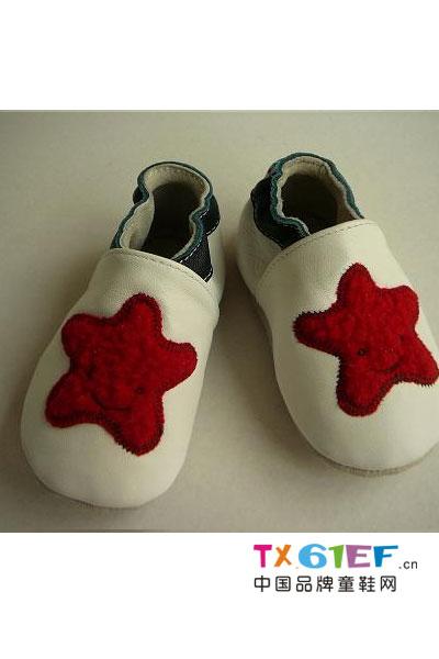 欢乐贝童鞋品牌大红五角星撞色皮鞋