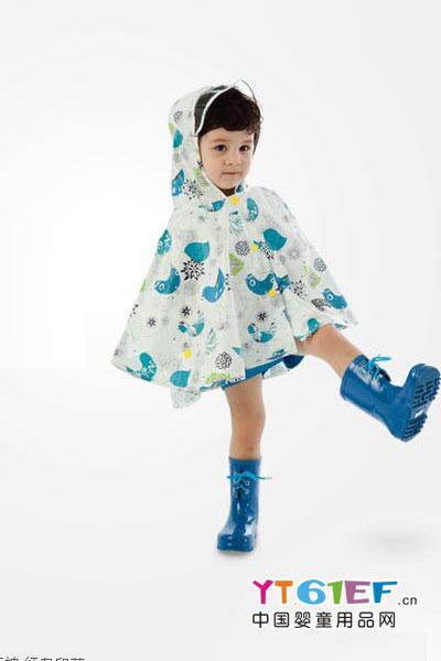 艾普迪韩国todbi儿童雨衣雨披宝宝斗篷带透明窗头罩彩色印花男童女童宝宝雨衣防晒防水雨披 多彩印花