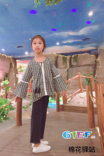 棉花驿站童装品牌2017年秋季圆领系带格子衬衫