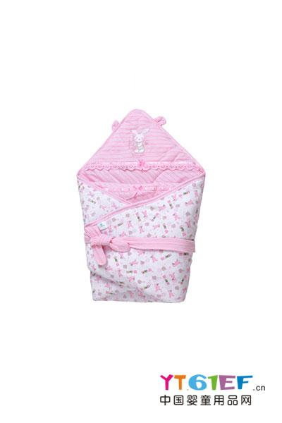 威威婴儿用品彩条夹棉包巾