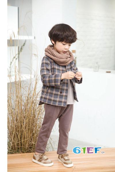 琦瑞德泽童装品牌2017年秋冬韩版格子休闲外套