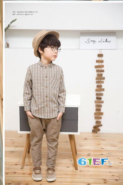琦瑞德泽童装品牌2017年秋冬棉麻条纹衬衫