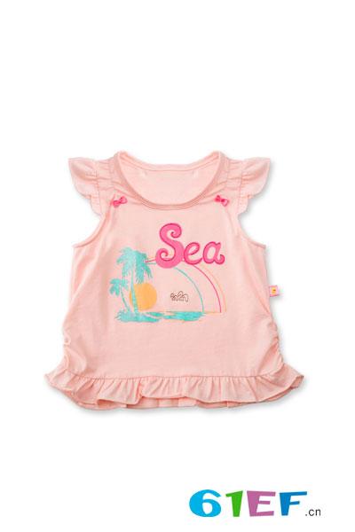 润婴宝休闲时尚花边短袖T恤