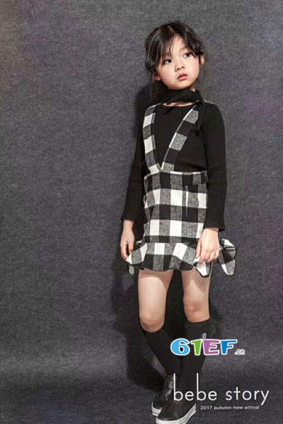 BEBESTORY贝尚童装品牌2017年秋冬韩版背带裙