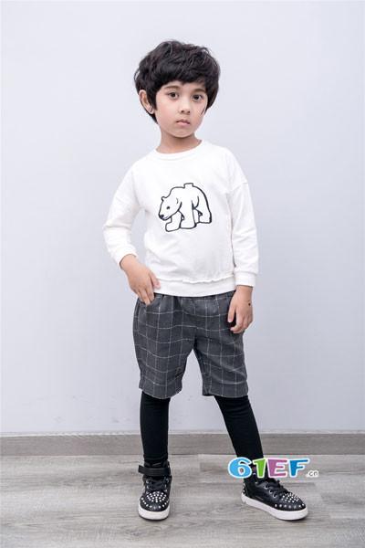 衣童盟童装品牌2017年秋季纯棉印花T恤