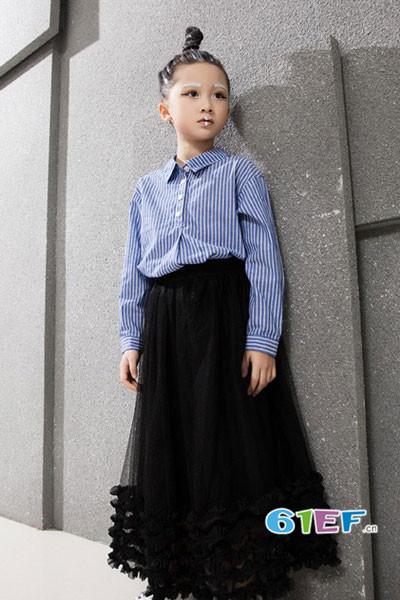 小猪芭那童装品牌2017年秋冬时尚条纹衬衫