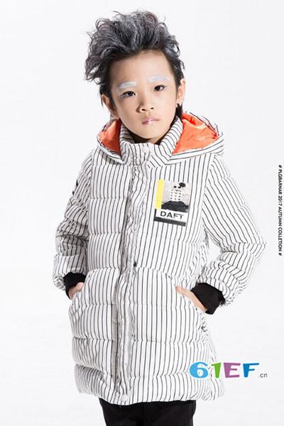 小猪芭那童装品牌2017年秋冬韩版中长款羽绒服