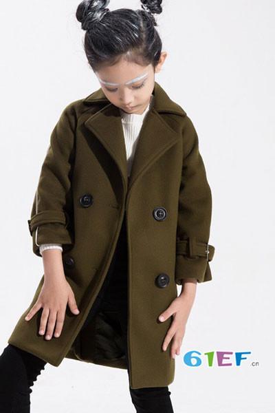 小猪芭那童装品牌2017年秋冬韩版中长款呢大衣