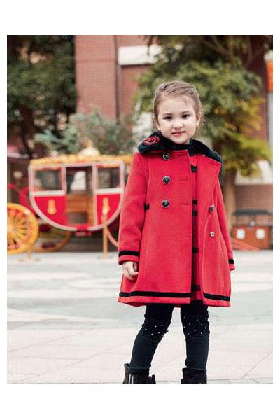 索黛纳童装品牌2017年秋冬公主中长款呢大衣