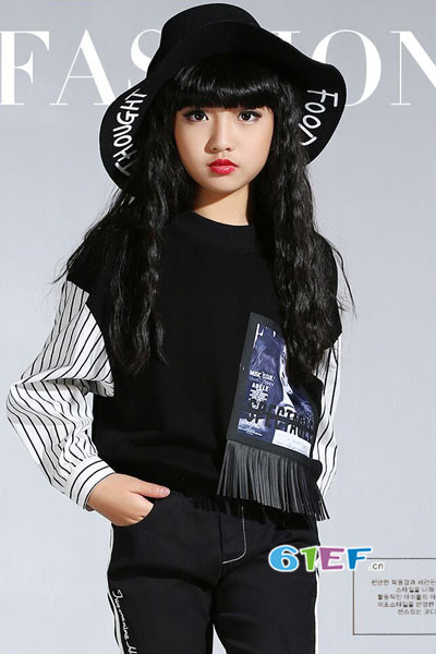 米咪咔童装品牌2017年秋季潮童拼接卫衣