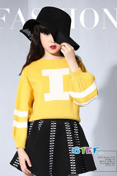米咪咔童装品牌2017年秋季休闲宽松针织毛衣