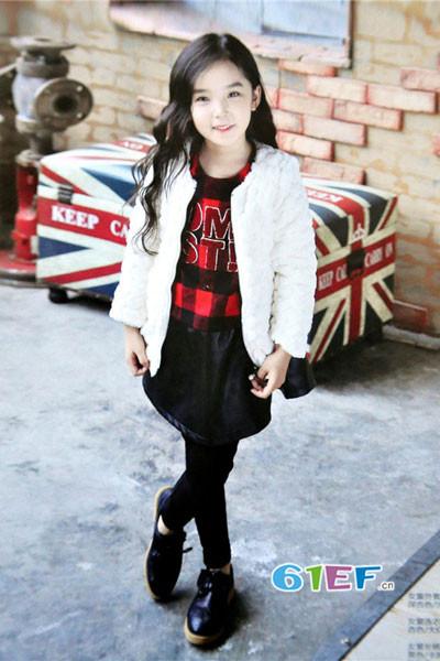 dishion的纯童装品牌2017年秋冬公主中长款羊绒衫