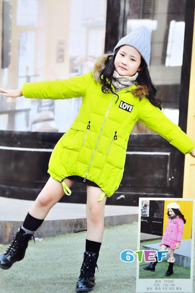 dishion的纯童装品牌2017年秋冬公主中长款羽绒服