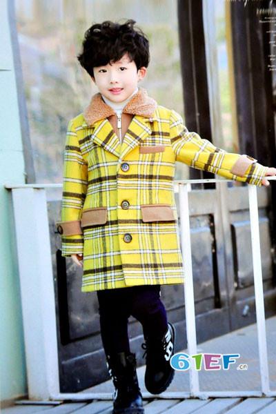 dishion的纯童装品牌2017年秋冬韩版中长款格子呢大衣