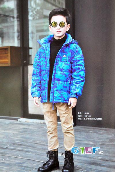dishion的纯童装品牌2017年秋冬运动印花羽绒服