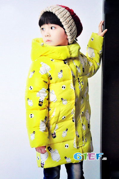 dishion的纯童装品牌2017年秋冬森系中长款羽绒服
