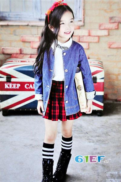 dishion的纯童装品牌2017年秋冬潮童圆领牛仔薄外套