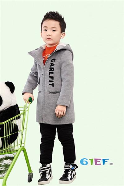 伟尼熊童装品牌2017年秋冬韩版中长款呢大衣