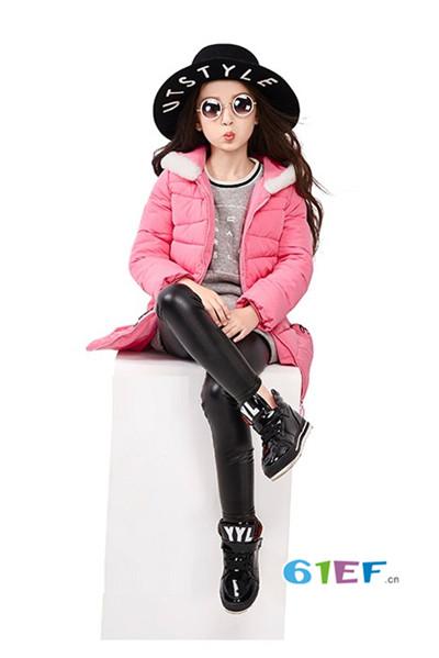 伟尼熊童装品牌2017年秋冬韩版中长款羽绒服