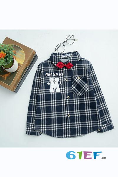 小海岛童装童装品牌2017年秋冬格子衬衫