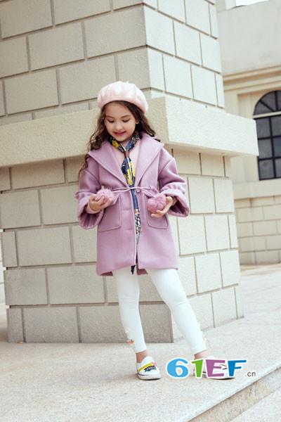 叽叽哇哇童装品牌2017年秋季公主系带呢大衣